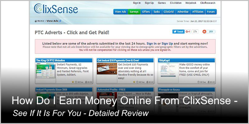 The ClixSense Review – How Do I Earn Money Online From ClixSense