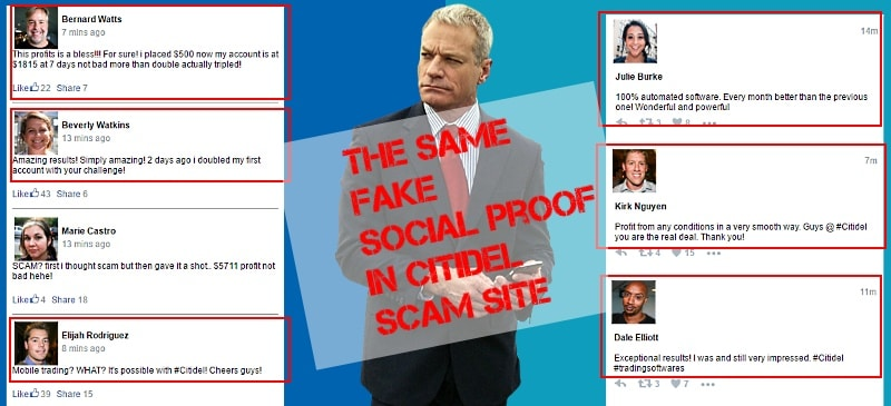 Citidel uses the same fake social proofs