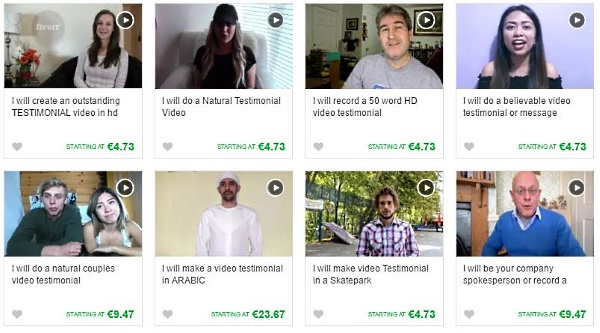 There are over 500 fake testimonial offer in fiverr