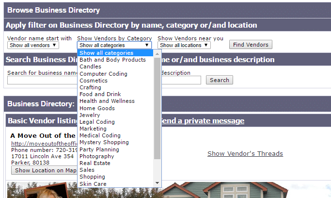 Work at home moms - business directory - vendors by category