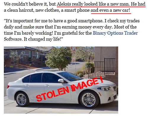 The car in the Aleksis Liepa story is a stolen image from the internet