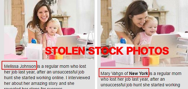 Stolen stock photos are used