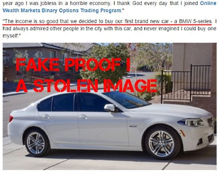 Both fake Lisa White from Cambridge and fake Melissa Johnson use the same stolen image of BMW 5 series