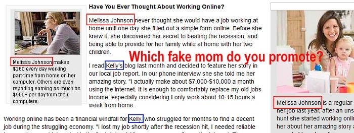 Two different fake moms advertised in the same article
