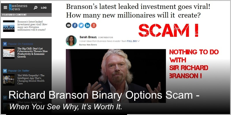 Richard Branson Binary Options Scam – When You See Why, It's Worth It
