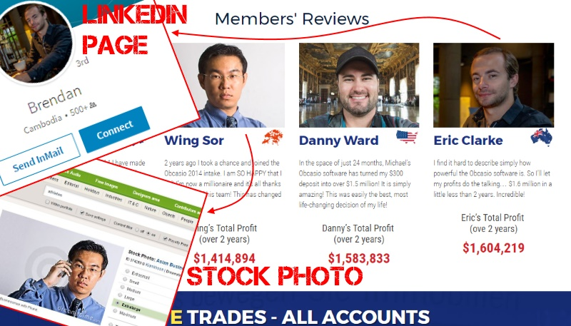 Obcasio fake members have stolen stock photos