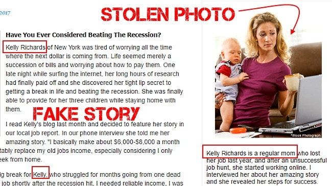 Kelly Richards scam - using a fictional narrative and stolen photo
