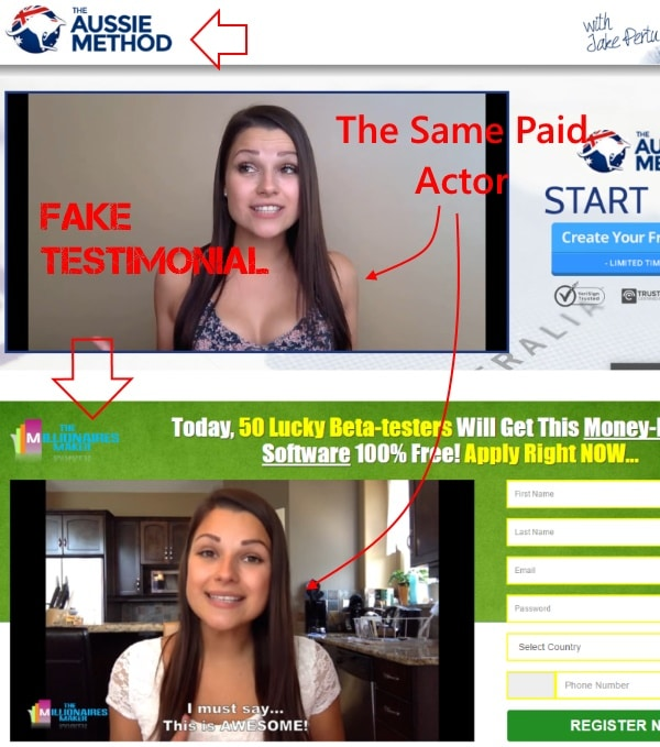 The same paid actor gives fake testimonials for different scams