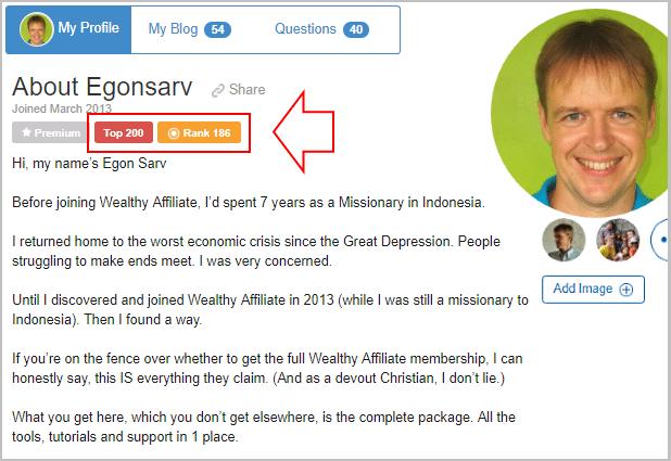Egon's profile page, rank 186