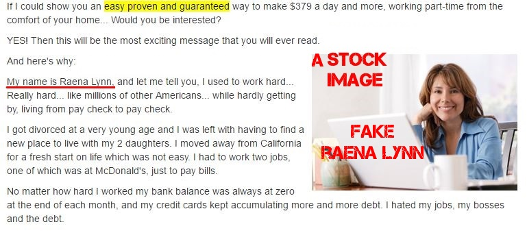 Raena Lynn Automated Daily Income report - the face image of fake Raena Lynn