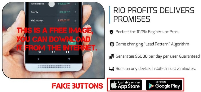 There's no such thing as a Rio Profits App in Google Store.