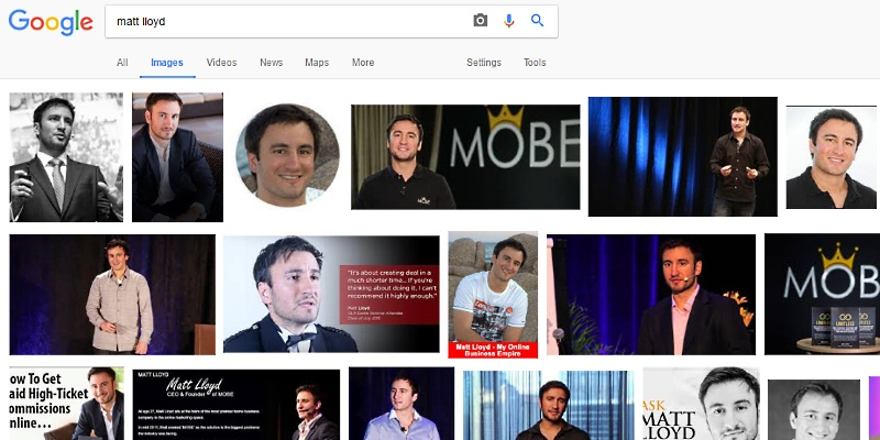 Matt Lloyd images in Google SERP
