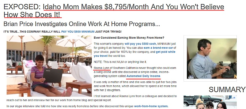 Raena Lynn using a typical work-from-home scam site template
