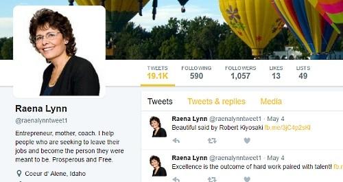 Raena Lynn's Twitter account