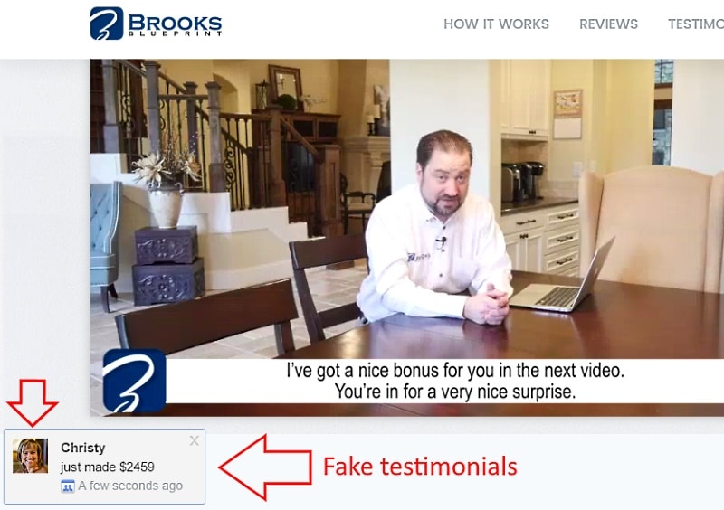 Fake testimonials are common to online scams