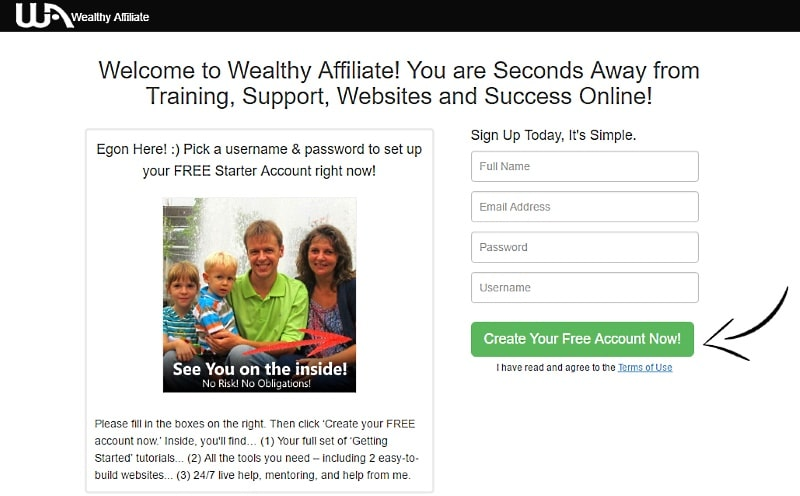 My Wealthy Affiliate Reviews - Starter membership signup form