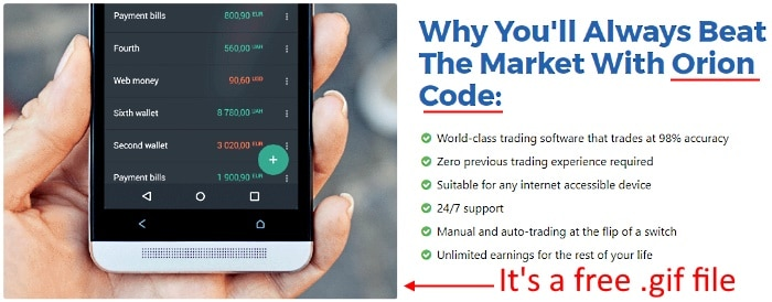 Edward Robinson uses a free .gif to promote his trading app for mobile devices