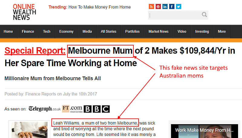 Online Wealth News - fake information site promoting Leah Williams success story