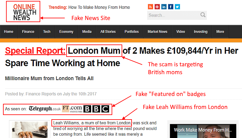 Leah Williams Work at Home Scam