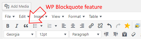 Blockquotes feature in WP page/post editor