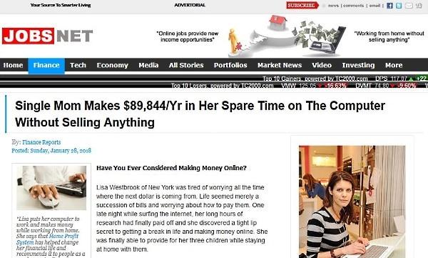 JobsNet work home scam site