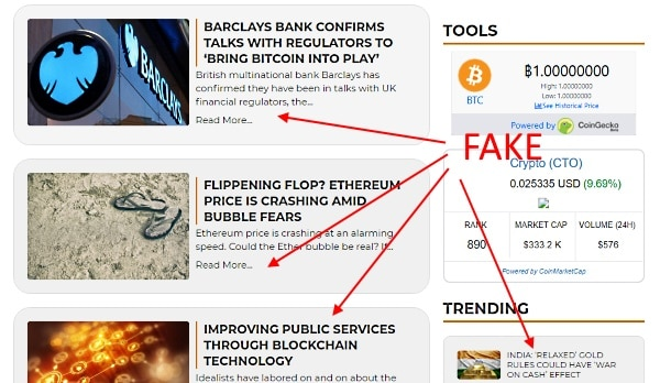 fake blog posts and news articles