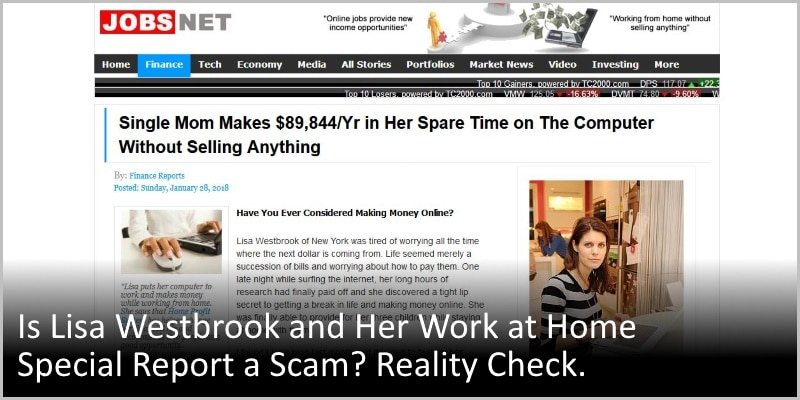 Is Lisa Westbrook and Her Work at Home Special Report a Scam? Reality Check.