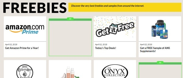 Examples of Get it Free freebies