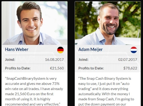 2 fake testimonials by Hans Weber and Adam Meijer
