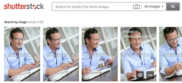 Shutterstock images with a business man with glasses