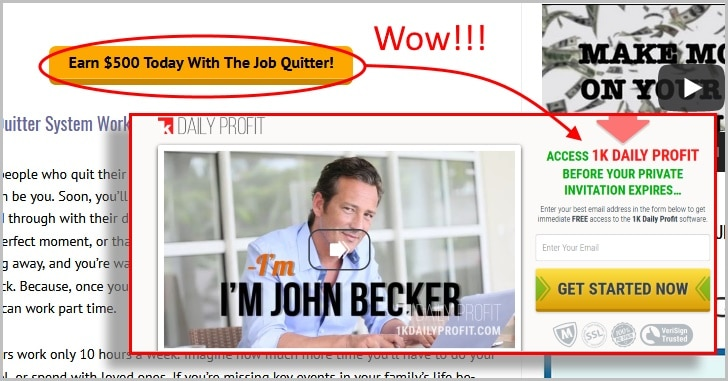 the job quitter system links you to the 1K Daily Profit scam