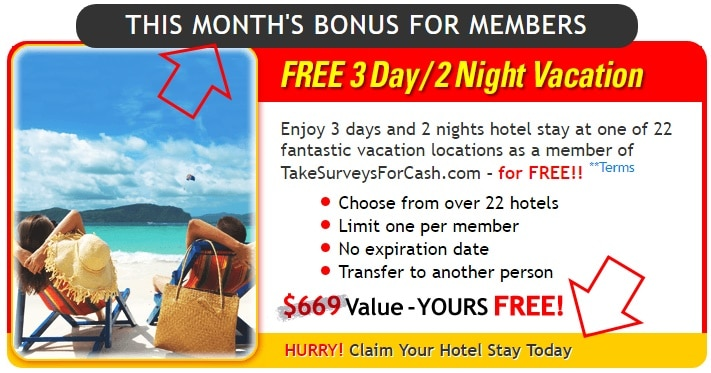 This month's bonus for Take Surveys for Cash members - a free vacation