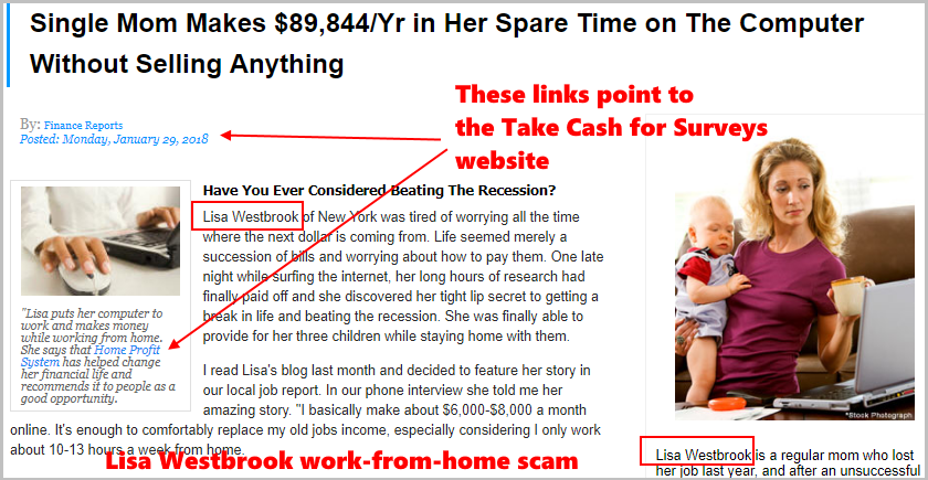Lisa Westbrook scam and Take Surveys for Cash scam belong to the same scam family