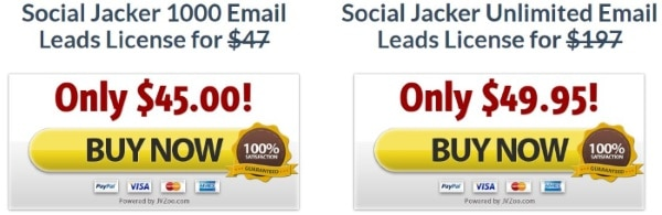 What about the Social Jacker - Pricing plans