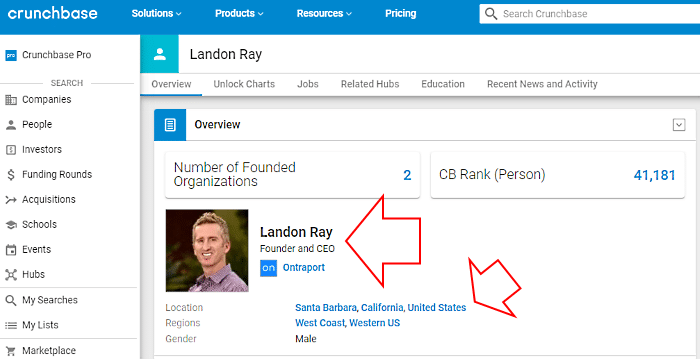 Landon Ray Ontraport - his Cruchbase profile page