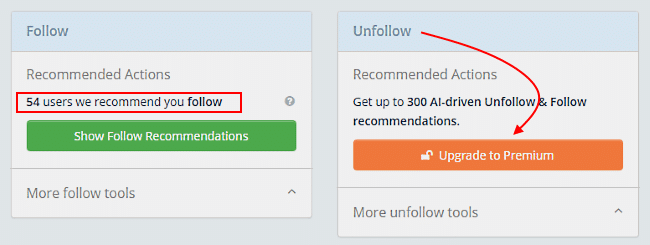Tweepi follow and unfollow tools - free and paid options
