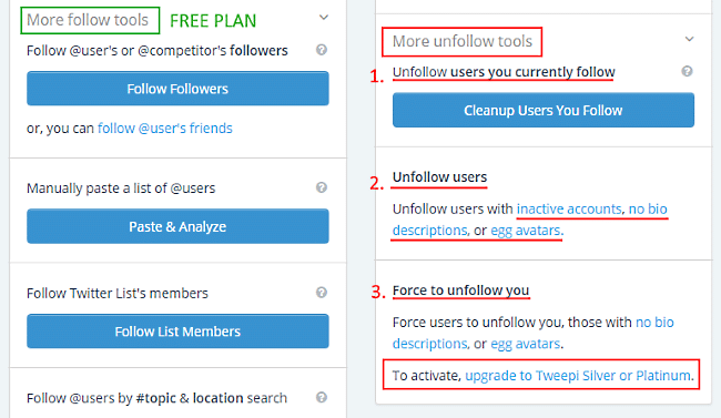 Tweepi - more free and paid follow /unfollow tools